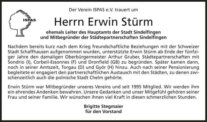 ISPAS e.V. trauert um Erwin Stürm